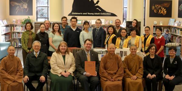 The University Libraries and CU Boulder students with representatives of the Fo Guang Shan Denver Vihara.
