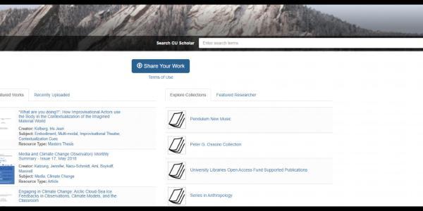 Screenshot of CU Scholar homepage