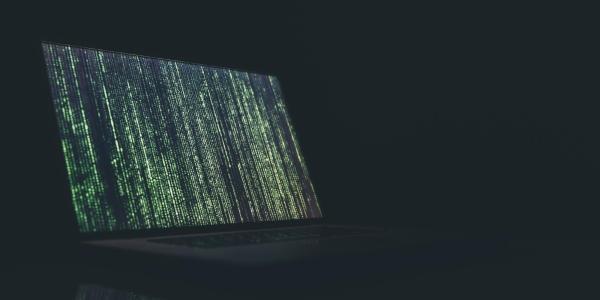 Laptop with Matrix design on screen