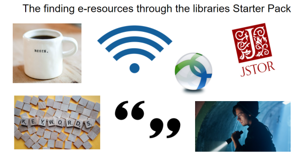 The 'finding e-resources through the libraries' starter pack meme