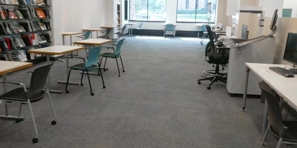 Individual study seats in the southwest section of the Gemmill Library.
