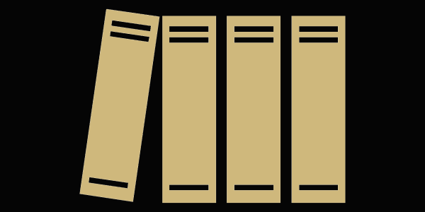 A graphic of books on a shelf.