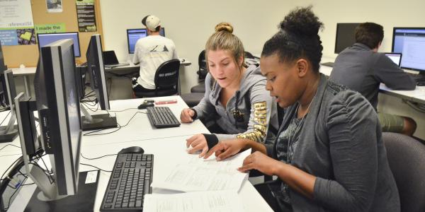 Students working in the Business Library