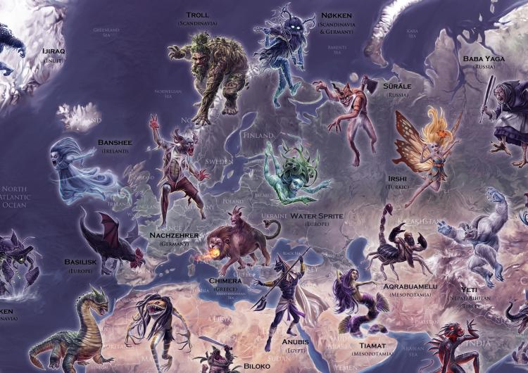 Portion of the Mythical Monsters Map by Peter Dobbin