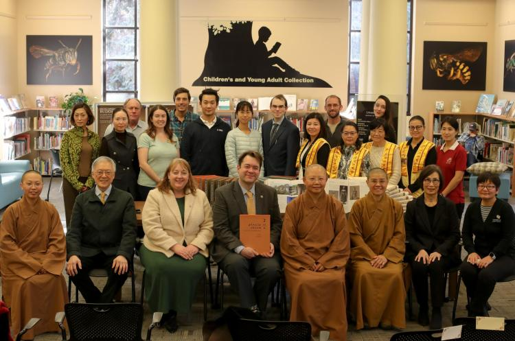 The University Libraries and CU Boulder students with representatives of the Fo Guang Shan Denver Vihara.