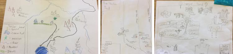 A collage of the maps the fourth graders drew during their class.