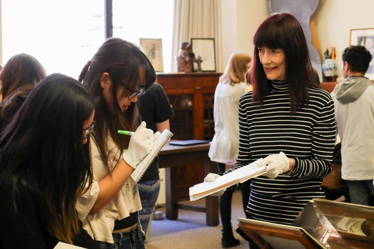 Professor Janice Brown with students from her class Environment, Nature and Disaster in Japanese Literature and Culture