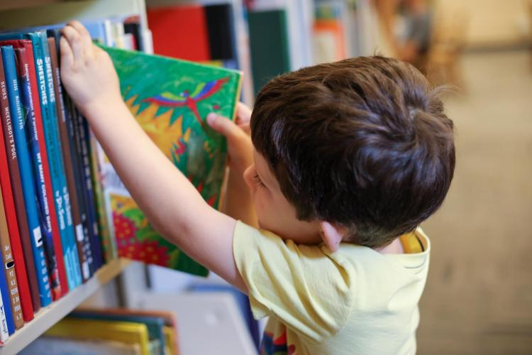 Young child removes a book from the Children's and Young Adult Collection at Norlin Library.