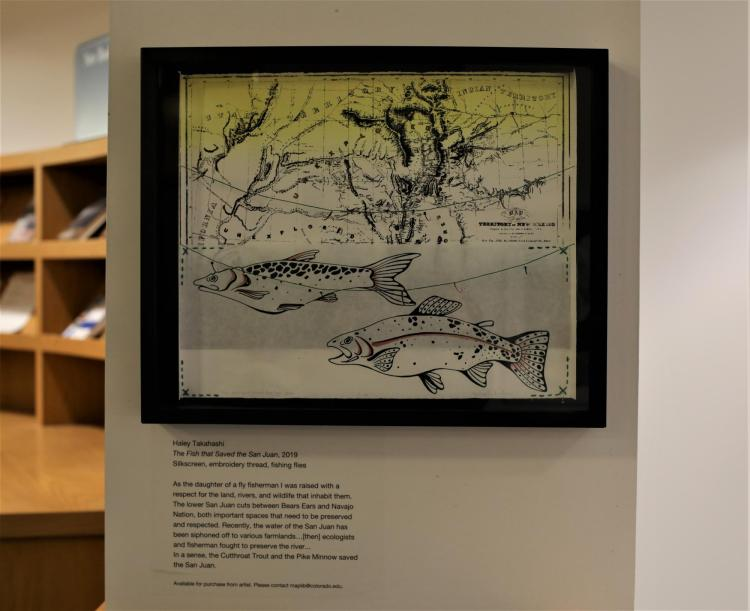 """The Fish That Saved the San Juan,"" by Haley Takahashi. Silkscreen, embroidery thread, fishing flies."