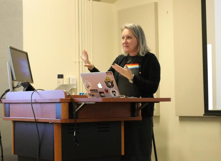 Wendy Norris shares details about her Python tutorials during her fellowship presentation April 25, 2019.