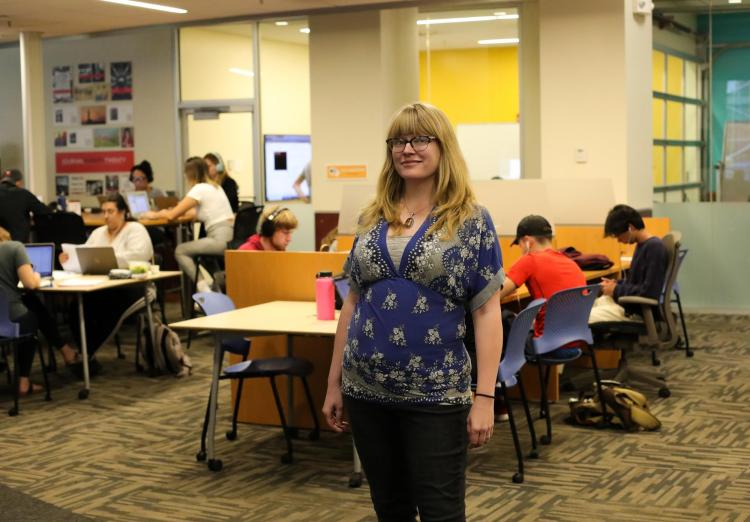 Sarah Hagerman stands in the Norlin Commons