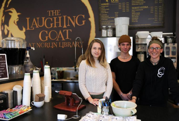 Students working at the Laughing Goat.