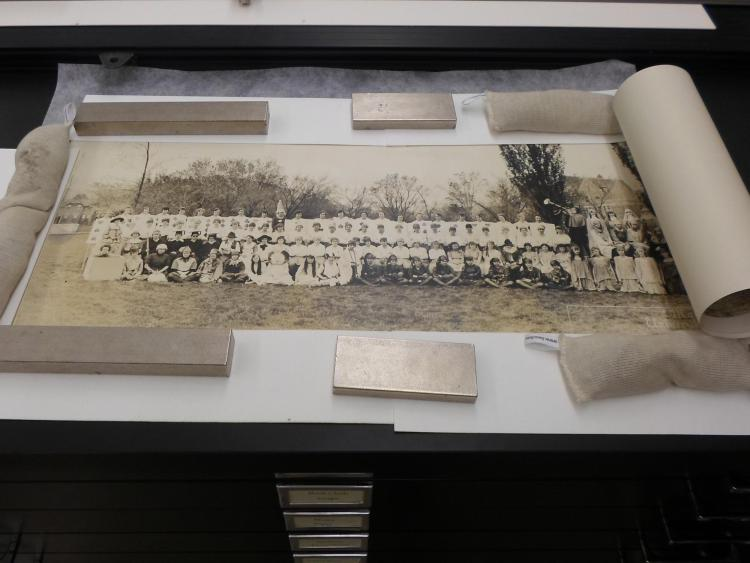 A photo from CU Boulder Archives that is receiving some TLC from Preservation