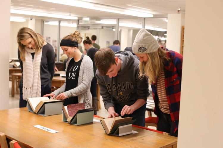 SCAP has materials from its special collections for students to examine.