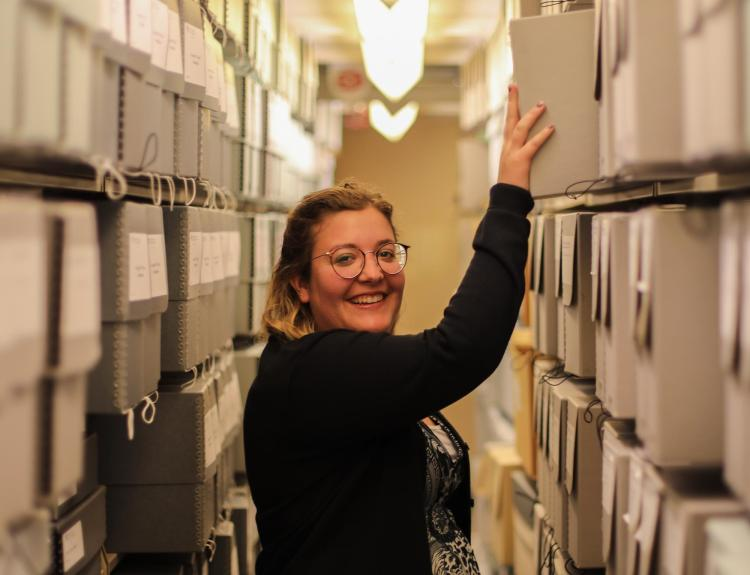 Archivist Ashlyn Velte in the Archives.