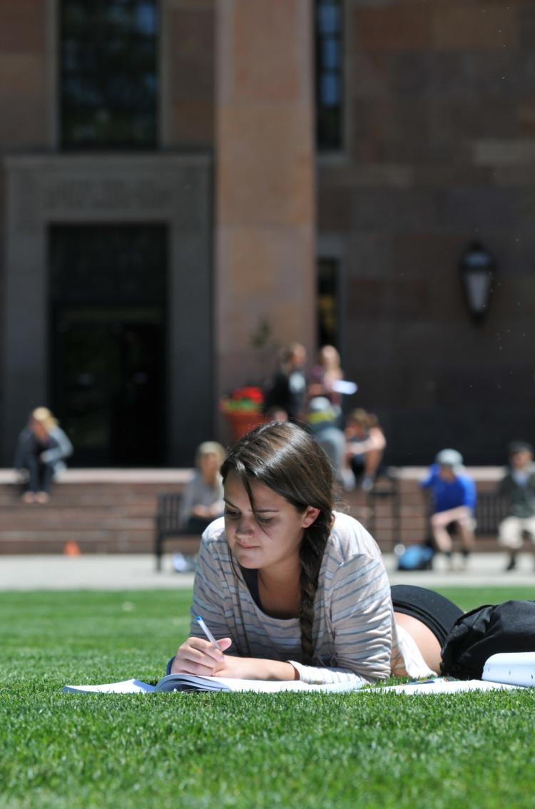 Student studying outside