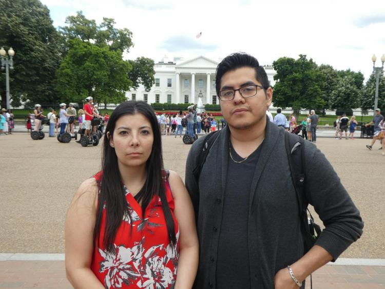 "Candid of Melissa Padilla and Oscar Cornejo from filming ""Change the Subject"""