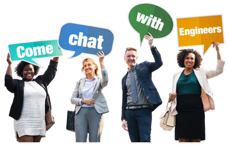 """People holding chat bubble signs saying """"Come Chat With Engineers."""""""