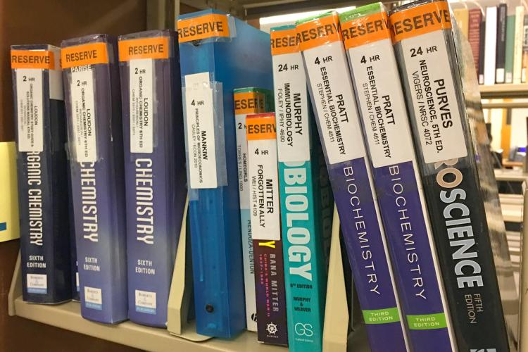 Course Reserve textbooks for science classes