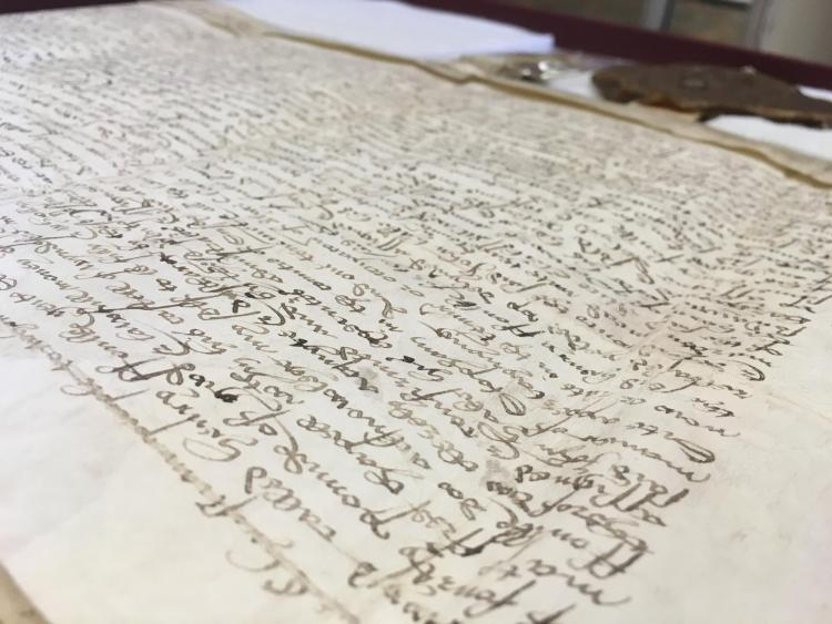 handwritten land deed from the 16th century