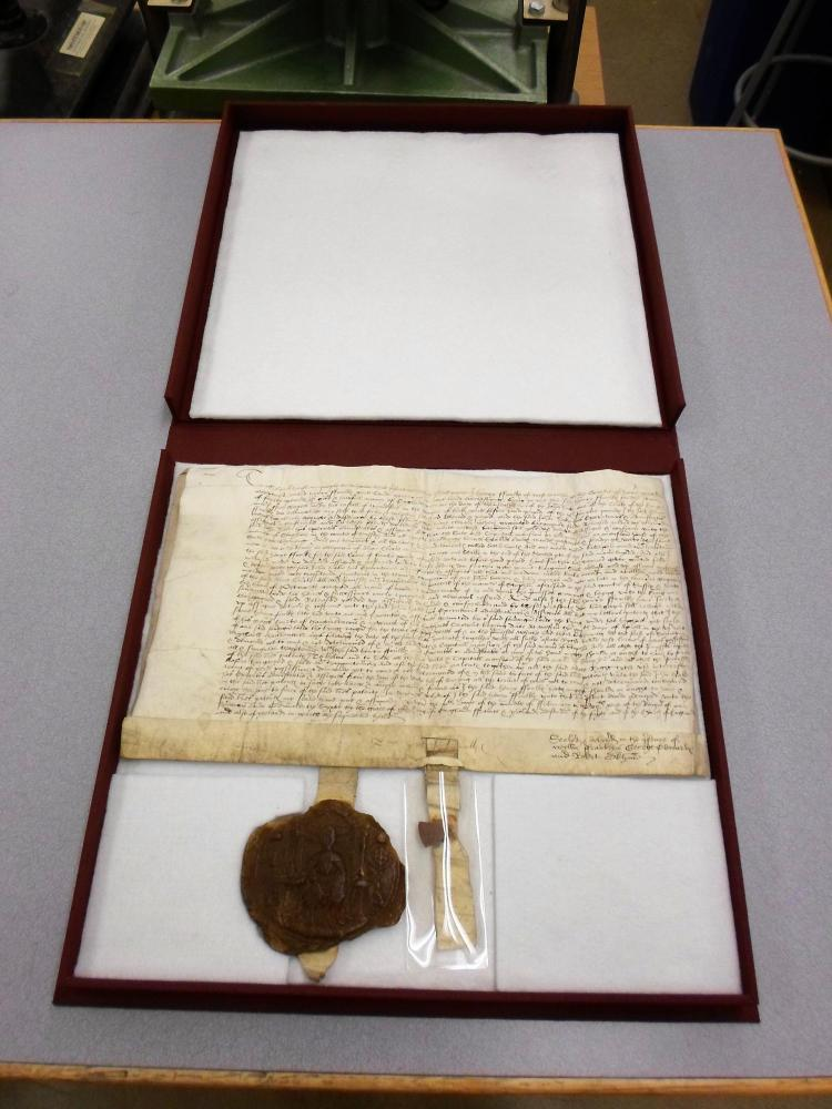 Customized enclosure for the 16th century land deed.