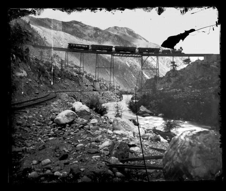 the train on Georgetown Loop trestle near the turn of the century.