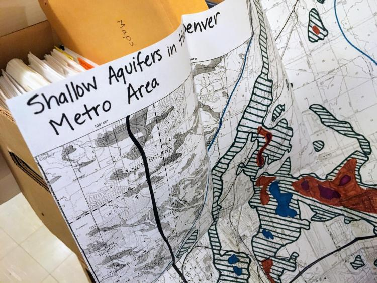 Paper from the Adrienne Anderson Collection with a hand-drawn map that says Shallow Aquifers in the Denver Metro Area.