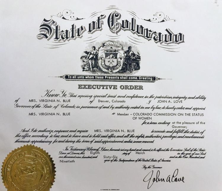 Governor John Love's executive order for the Commission on the Status of Women in 1965