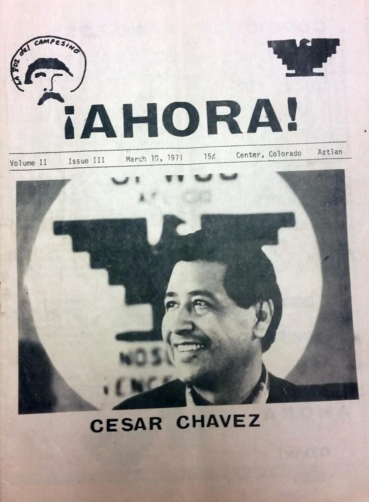Newspaper clipping with a photo of Cesar Chavez