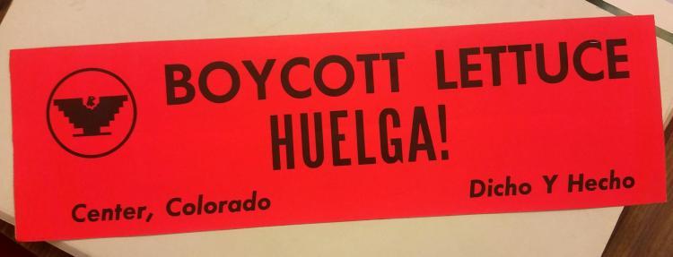"1970s Bumper sticker saying, ""Boycott Lettuce!"""