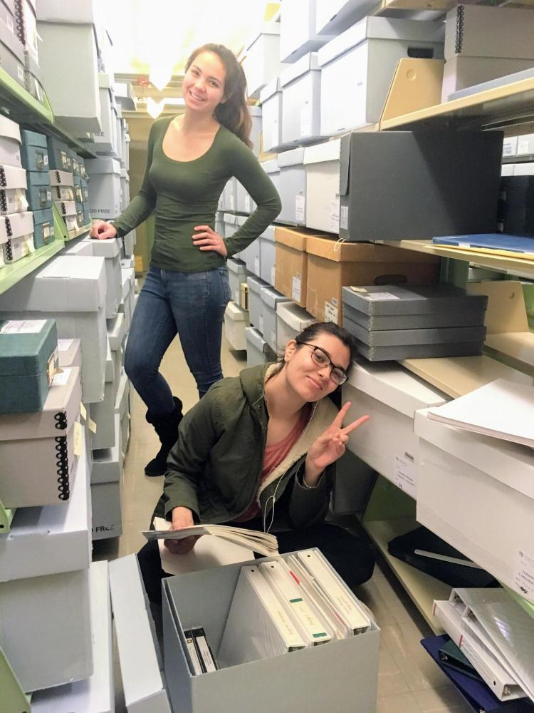 Students having fun working in the archives.