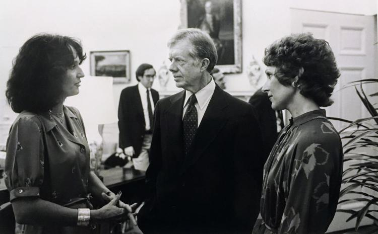 Joan Baez with President Jimmy Carter in the 1970s.