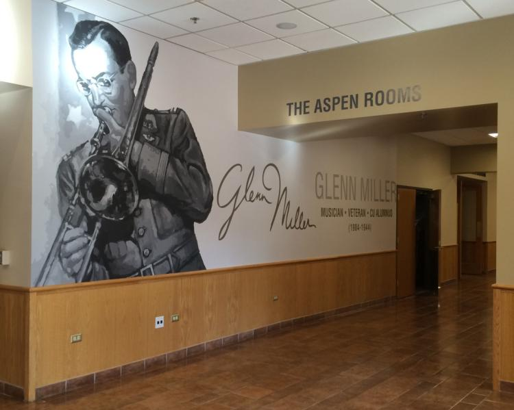 Wall mural at the entrance of the Glenn Miller ballroom at the UMC