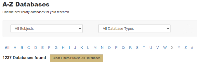 A-Z Databases search box