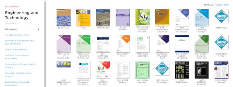 E-journals page screenshot