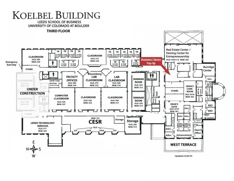 Koelbel Building Map Showing Location of Business Library Pop-Up