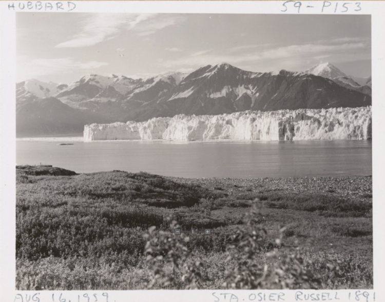 The National Snow and Ice Data Center (NSIDC) collection exhibits the practice of repeat photography to convey the effects of global warming. This view of the Hubbard Glacier in Alaska was taken on Aug. 16, 1959 by photographer Marion T. Millett.