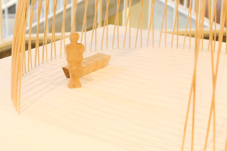 Sanctuary, by Mathew Vivirito, was constructed using wooden dowels that interact at thousands of points.