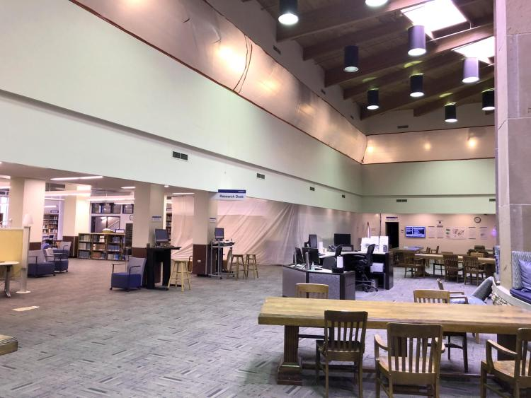 Tenting in Norlin Library to reduce dust during renovation