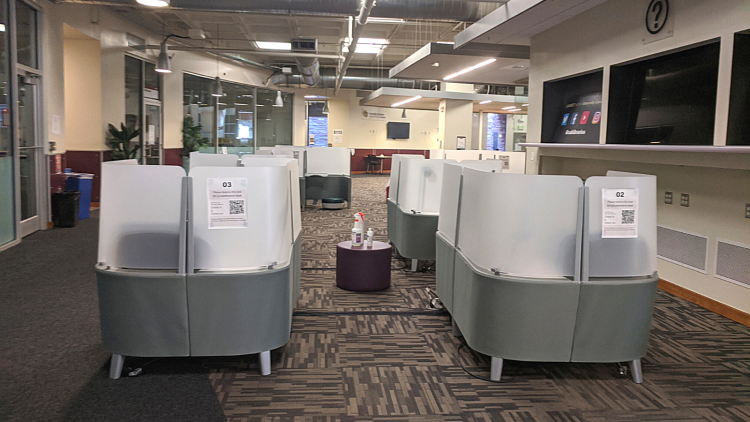 Individual study spaces in the Norlin Commons