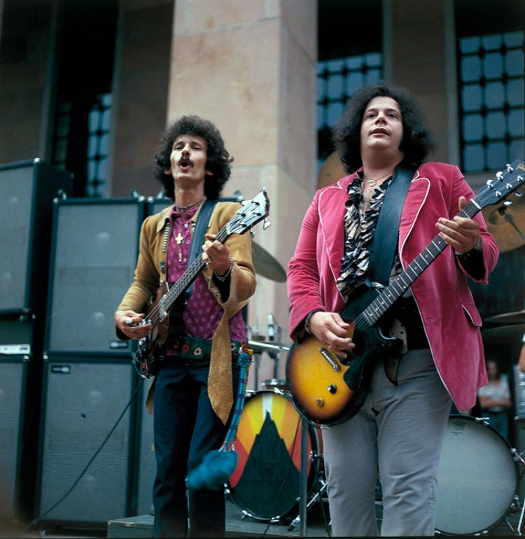 Felix Pappalardi and Leslie West from the rock band, Mountain, playing on the steps of Norlin Library