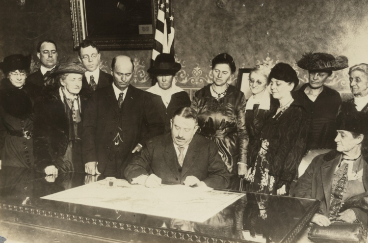 Colorado governor Oliver H. Shoup ratifies the 19th amendment on December 12, 1919.