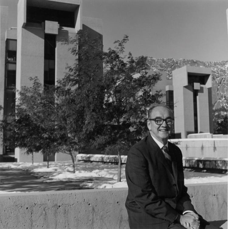 Portrait of Walter Orr Roberts, director of the National Center for Atmospheric Research (NCAR) outside the Table Mesa Laboratory in Boulder, Colorado.