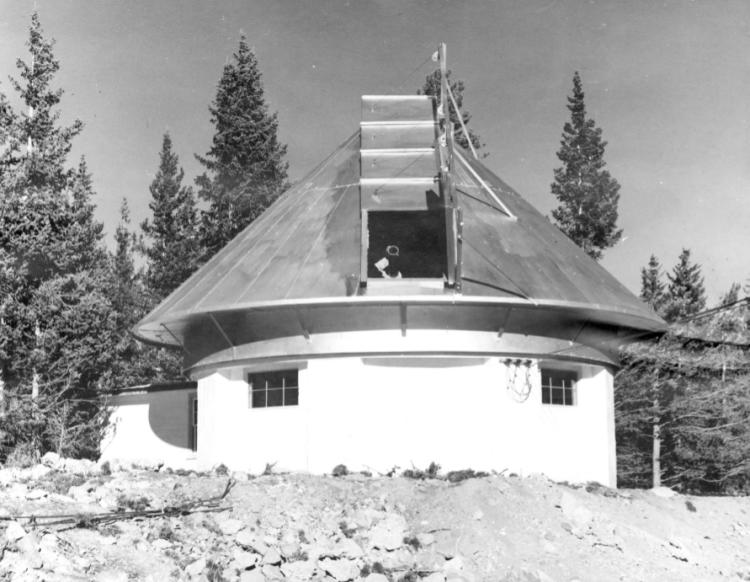 """The small observatory dome at Climax, Colorado observing site of the High Altitude Observatory. The caption from the Archives reads """"This building will house the new 6-inch coronograph when it is completed."""""""