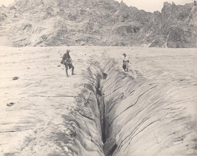 Longitudinal crevasse, Arapaho Glacier, Boulder county, Colorado, September 1, 1919. Photograph by Junius Henderson