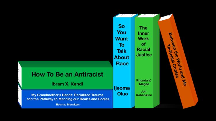 Stack of antiracism resource books