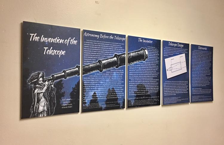A student display on the invention of the telescope