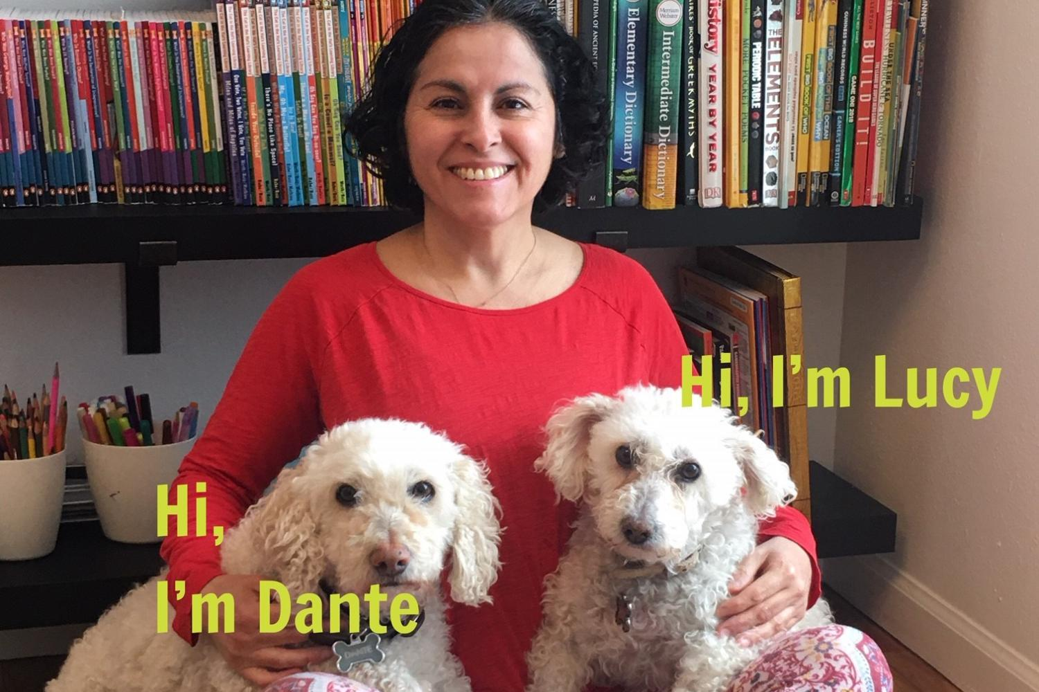 Kathia Ibacache and her dogs.
