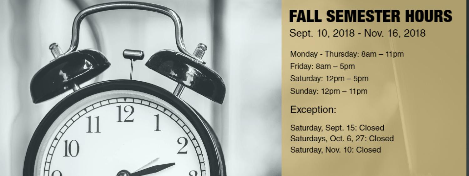 List of Business Library Fall Semester Hours