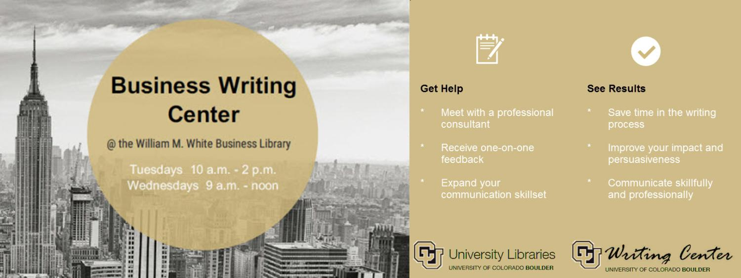 Business Writing Center hours Tuesday 10 am to 2 pm Wednesday 9 am to noon